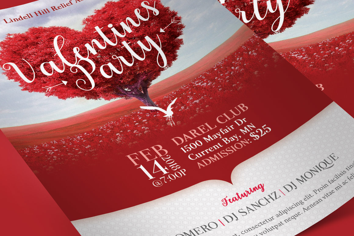 Tree Heart Valentines Party Flyer Template example image 5