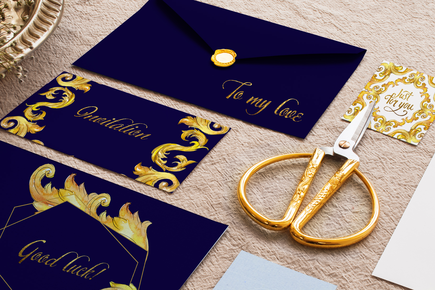 Luxury gold monograms. Fashion prints Watercolor png example image 2