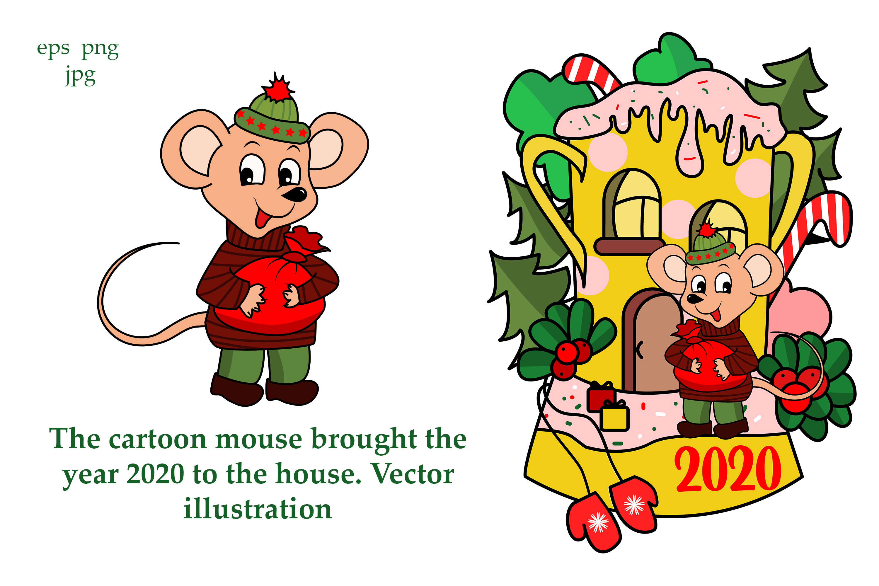 The cartoon mouse brought the year 2020 to the house. example image 2