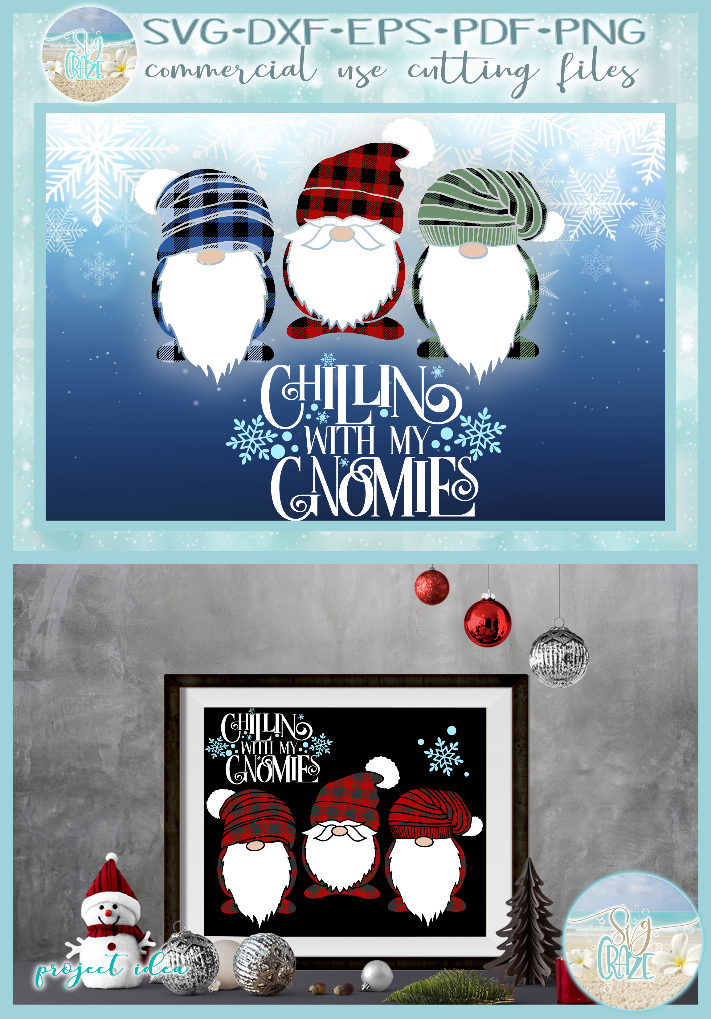 Chillin With My Gnomies Quote with Gnomes SVG example image 4