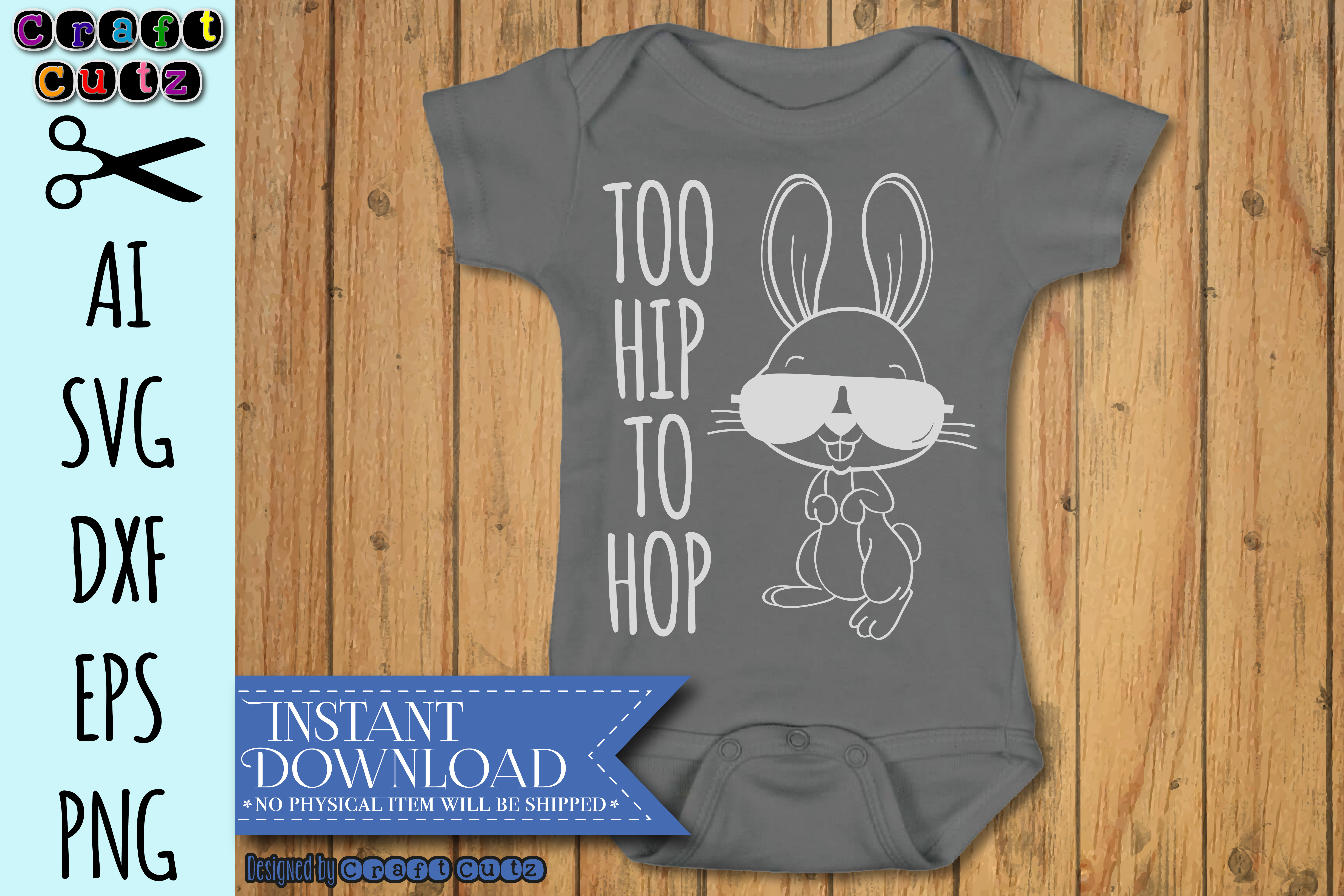 Too Hip To Hop Easter Bunny AI, SVG, DXF, EPS, and PNG example image 2