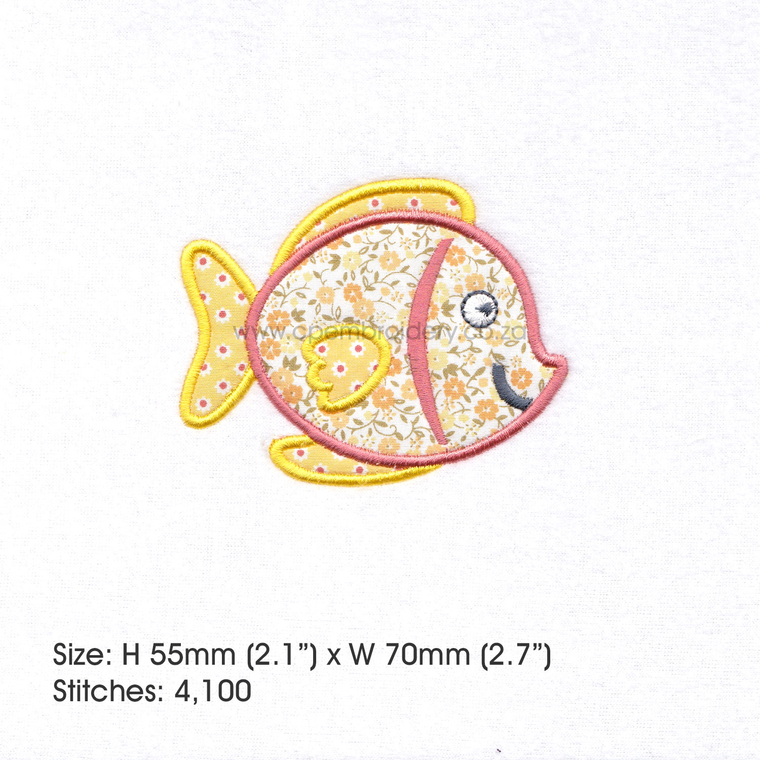 Yellow Tang Pet Fish Applique Machine Embroidery Design example image 2