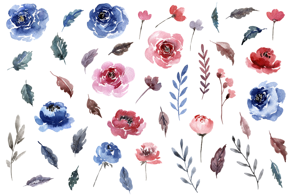 Watercolor Blue & Red Flowers Leaves example image 2