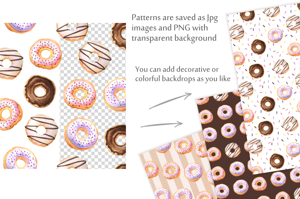 Donut Watercolor Patterns and Graphics example image 3