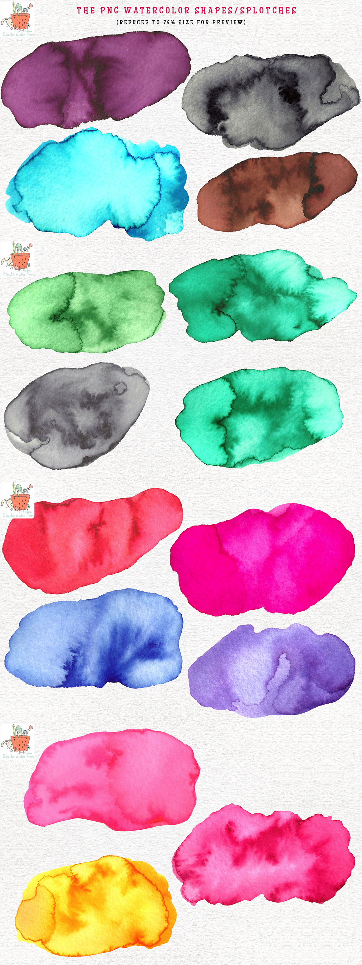 Watercolor Splotches Shapes Brushes Vol 3 example image 2