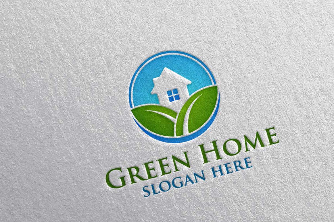 Real estate Logo, Green Home Logo 22 example image 2
