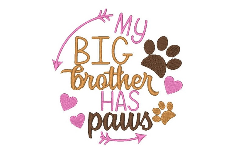 Big Brother Has Paws Machine Embroidery Design Word Art example image 1