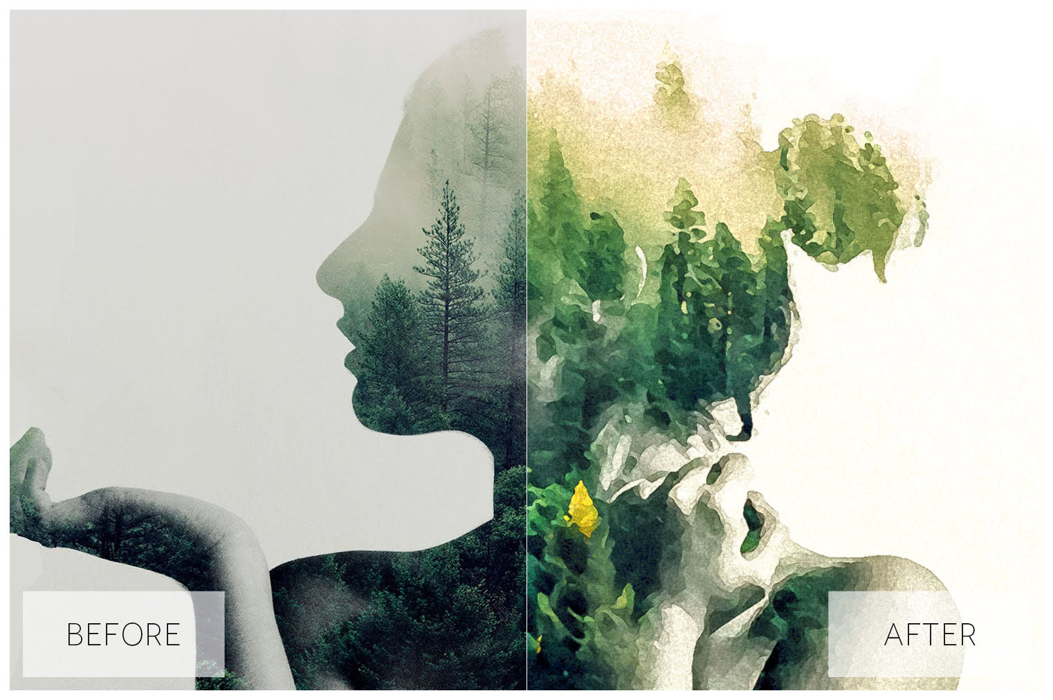 Lovely Watercolor Effect | Photoshop Actions example image 3