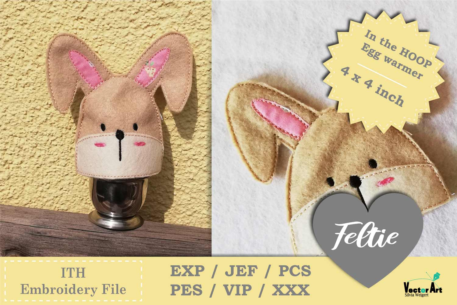 ITH - Feltie Bunny - Egg Warmer - Embroidery File example image 1