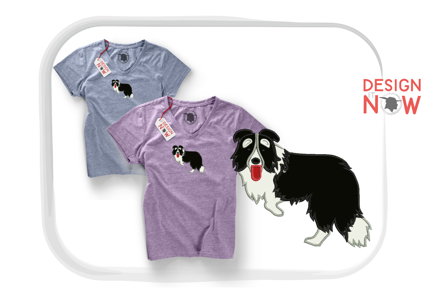 Dog Applique Embroidery Design, Border Collie Embroidery example image 5