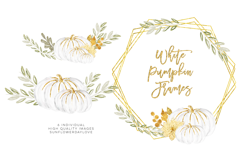 white pumpkin wreath, Fall watercolor wreath example image 2