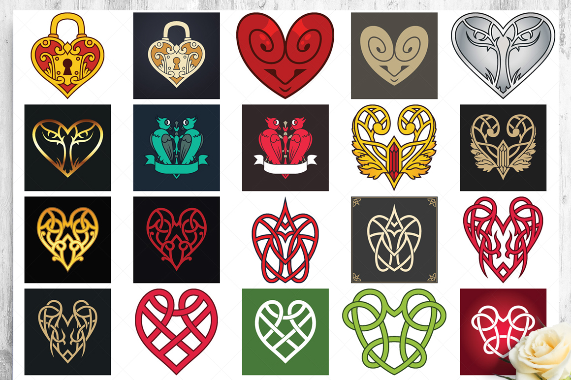 100 Heart Vector Ornaments and Seamless Patterns example image 20