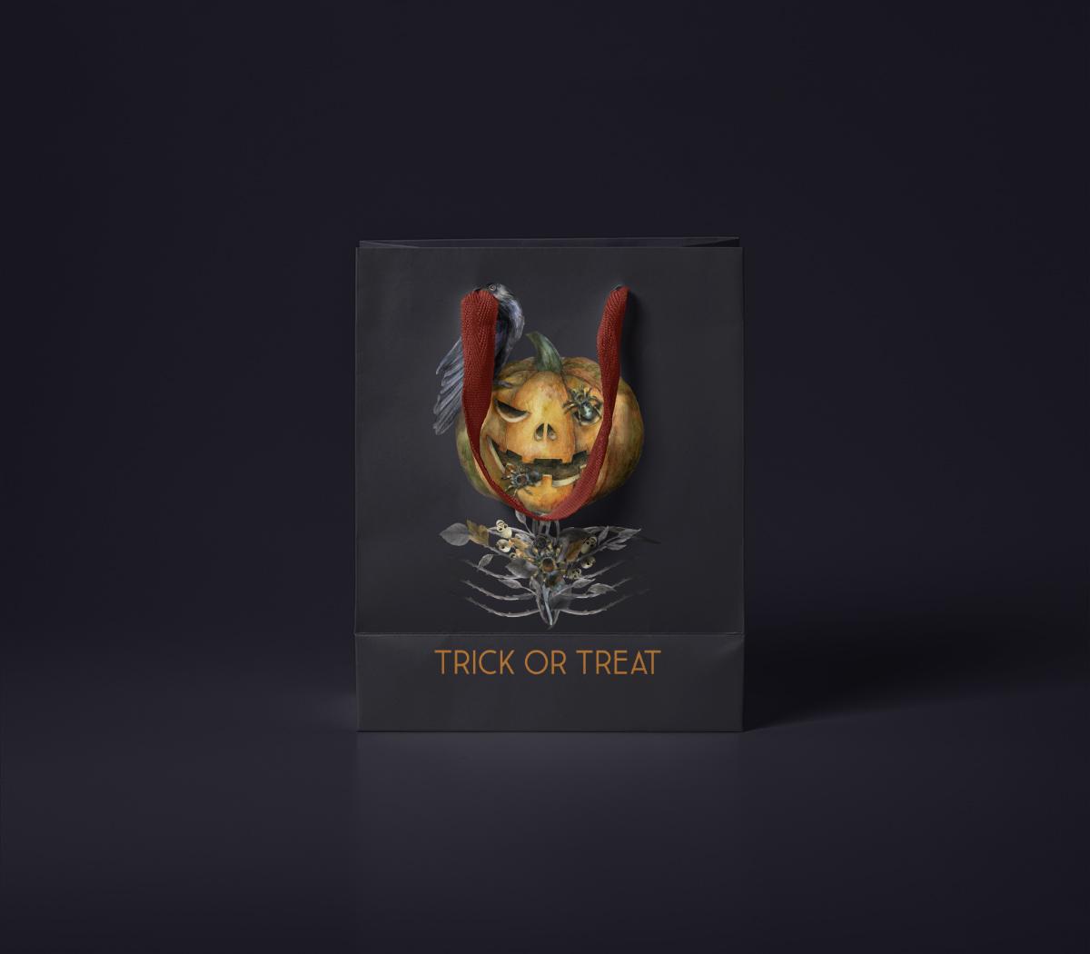 Halloween watercolor pack, Jack o Lantern pumpkin, wreath example image 13