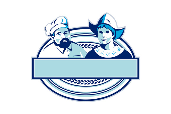Baker and Dutch Lady Banner Oval Retro example image 1