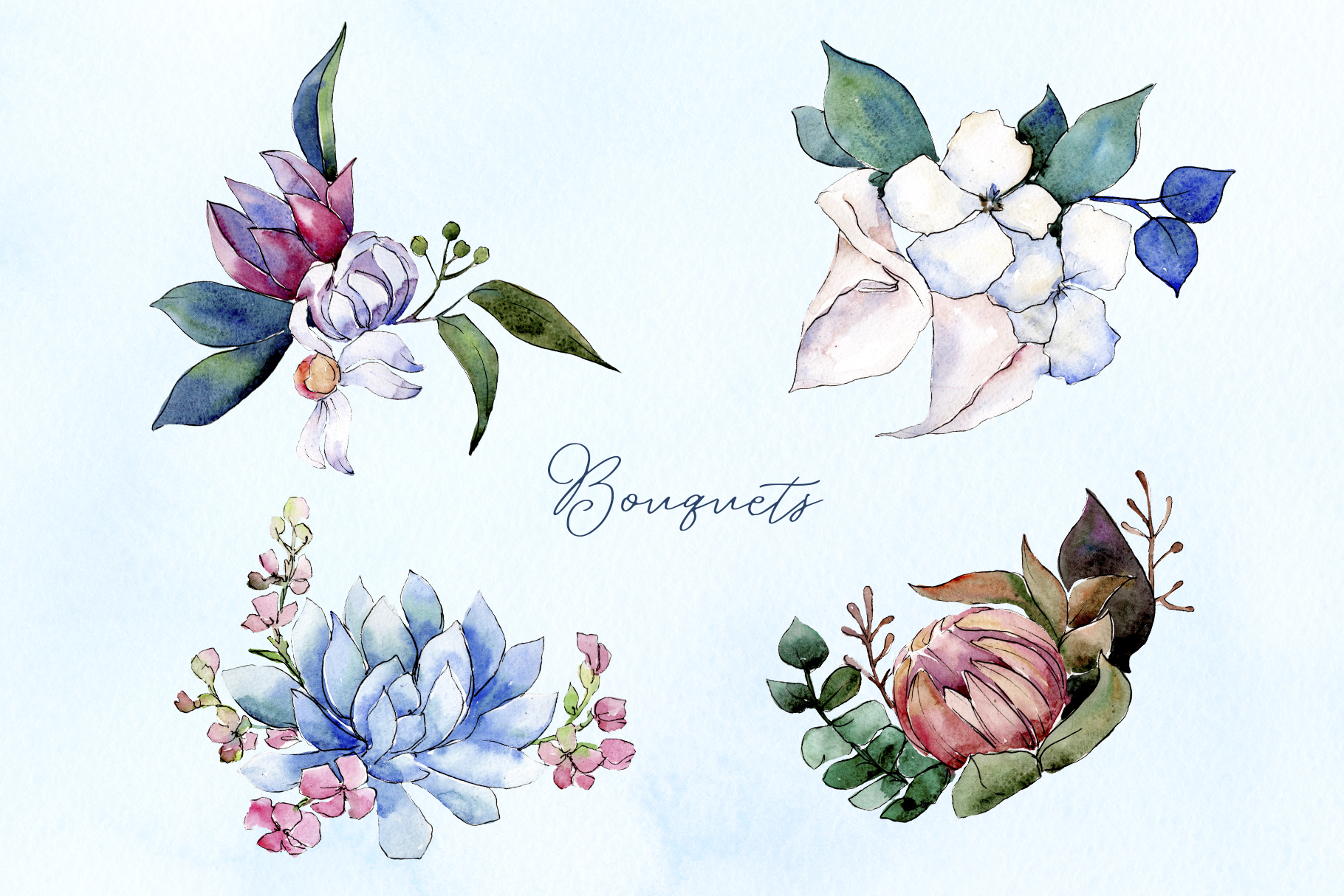 Bouquet of flowers bloom watercolor png example image 3