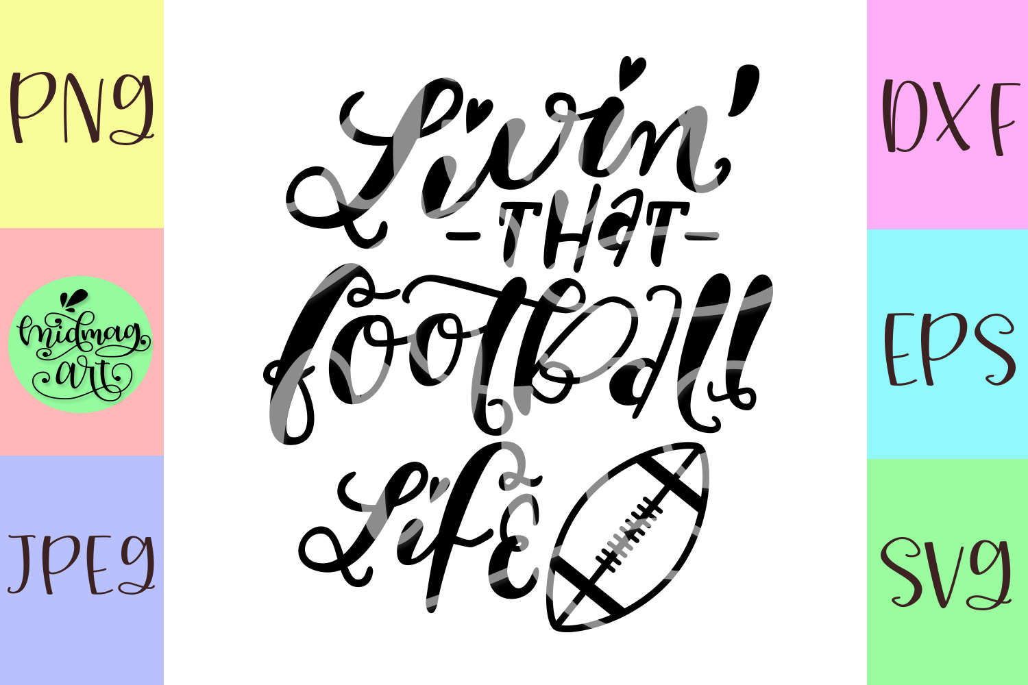 Livin that football life svg, football svg, fall svg example image 2