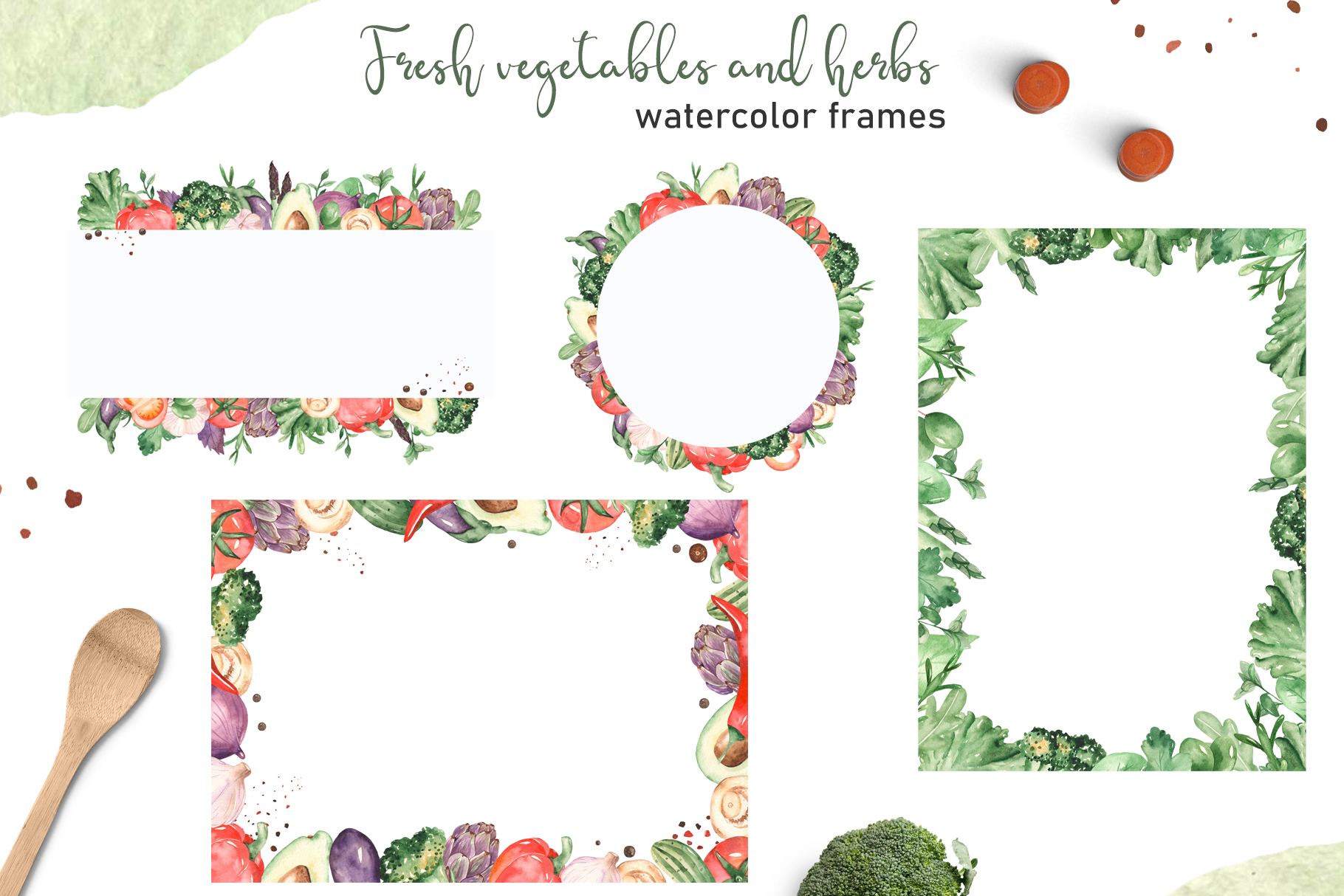 Vegetables and herbs Watercolor collection Clipart example image 8