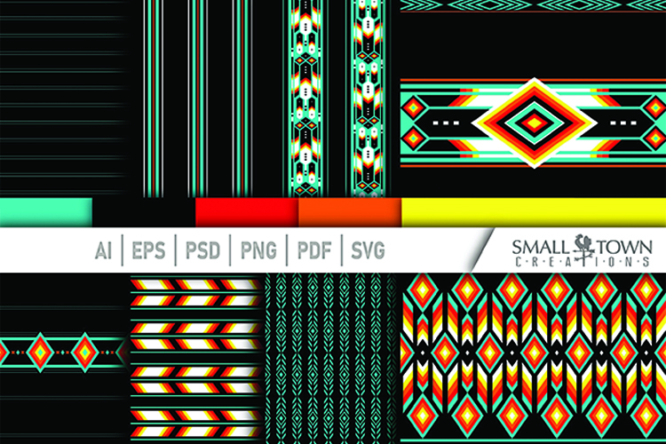 TRIBAL pattern, Aztec, Native American, PRINT, CUT & DESIGN example image 1