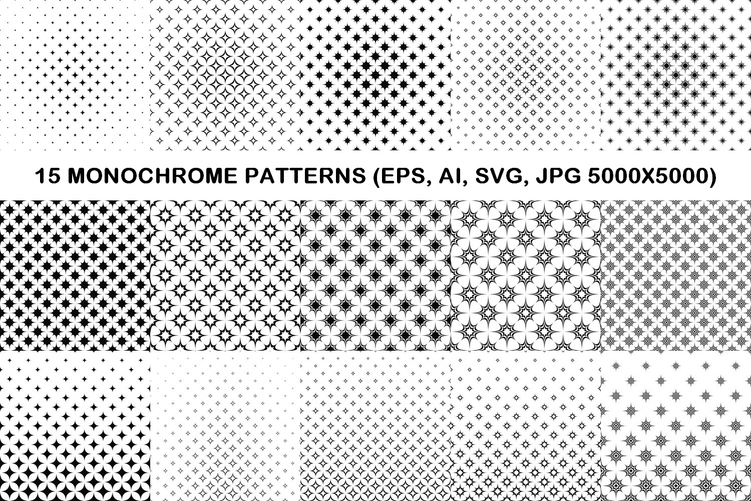 75 Monochrome Geometrical Patterns AI, EPS, JPG 5000x5000 example image 4