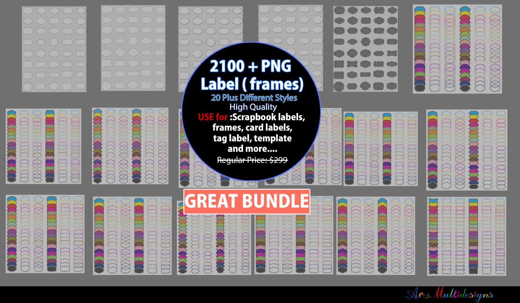 Label clipart bundle / digital label clipart bundle / frames bundle / high quality frames / digital frames clip art / label clipart example image 1
