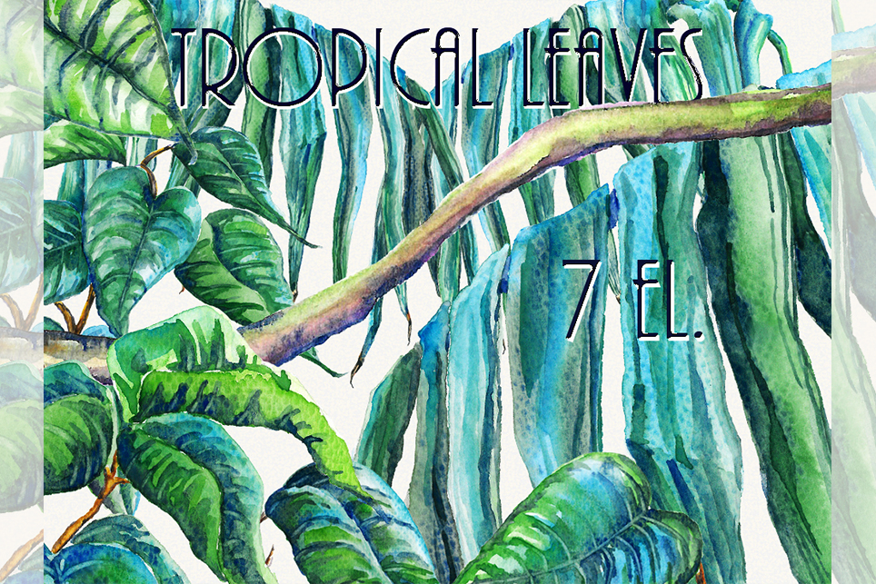 Leaf clipart, tropical leaf clipart, Watercolor example image 1