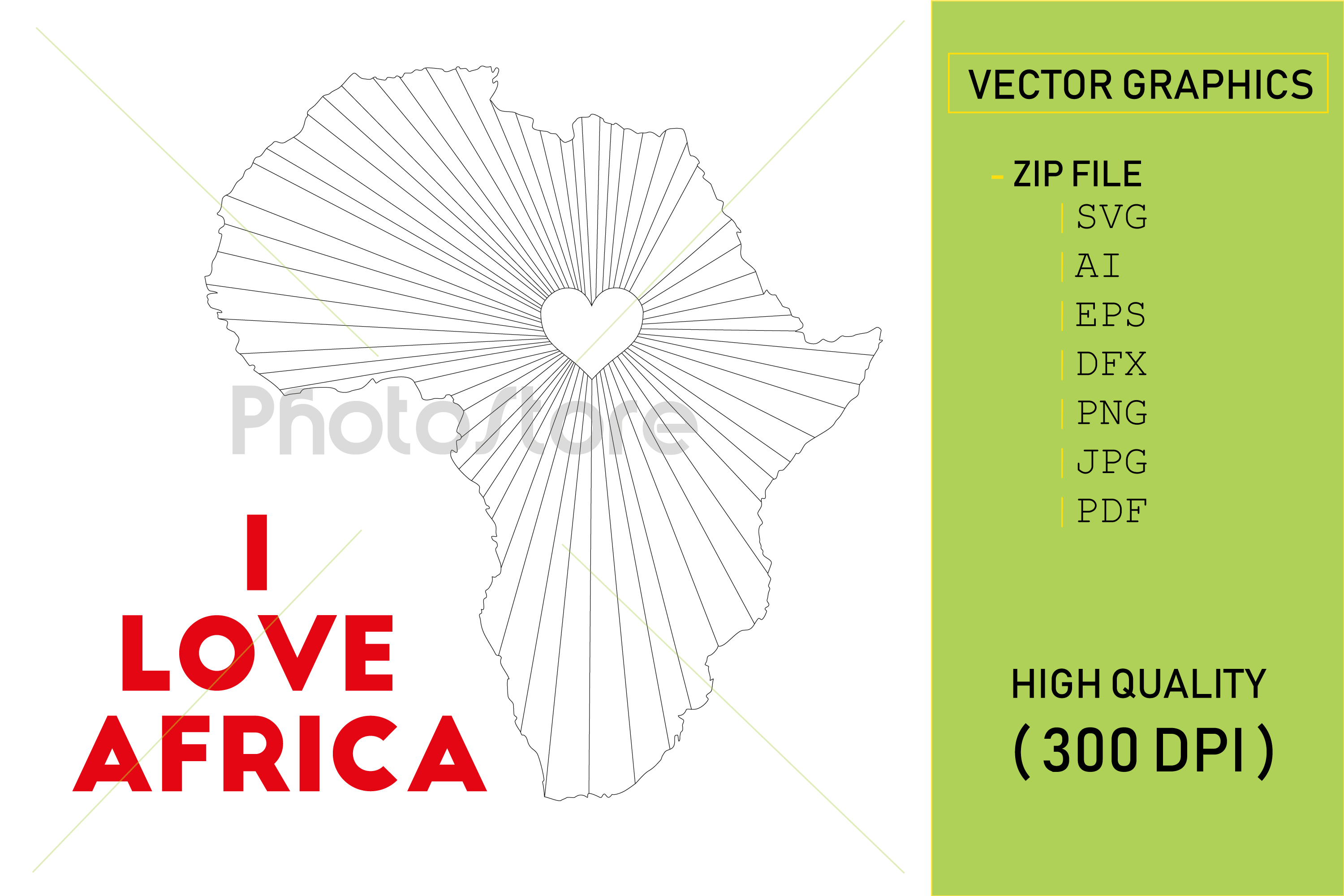 I love Africa country map silhouette example image 1