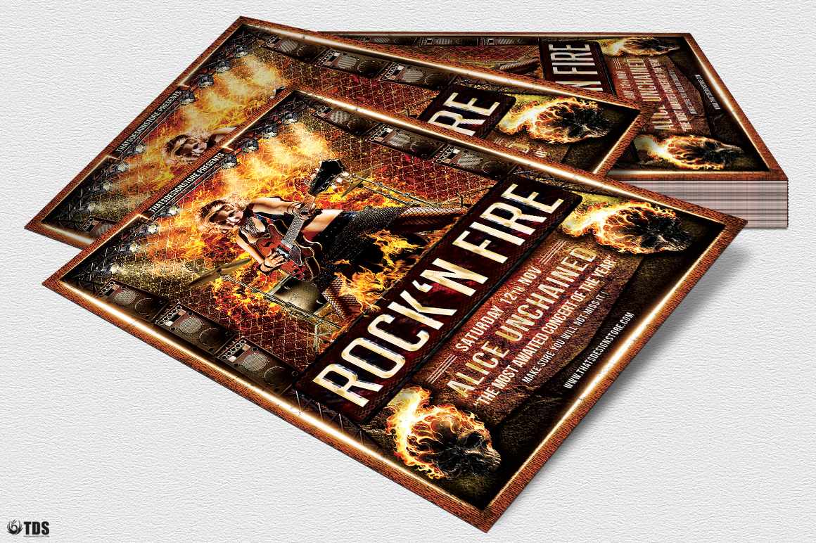 Rock'N Fire Live Flyer Template example image 2