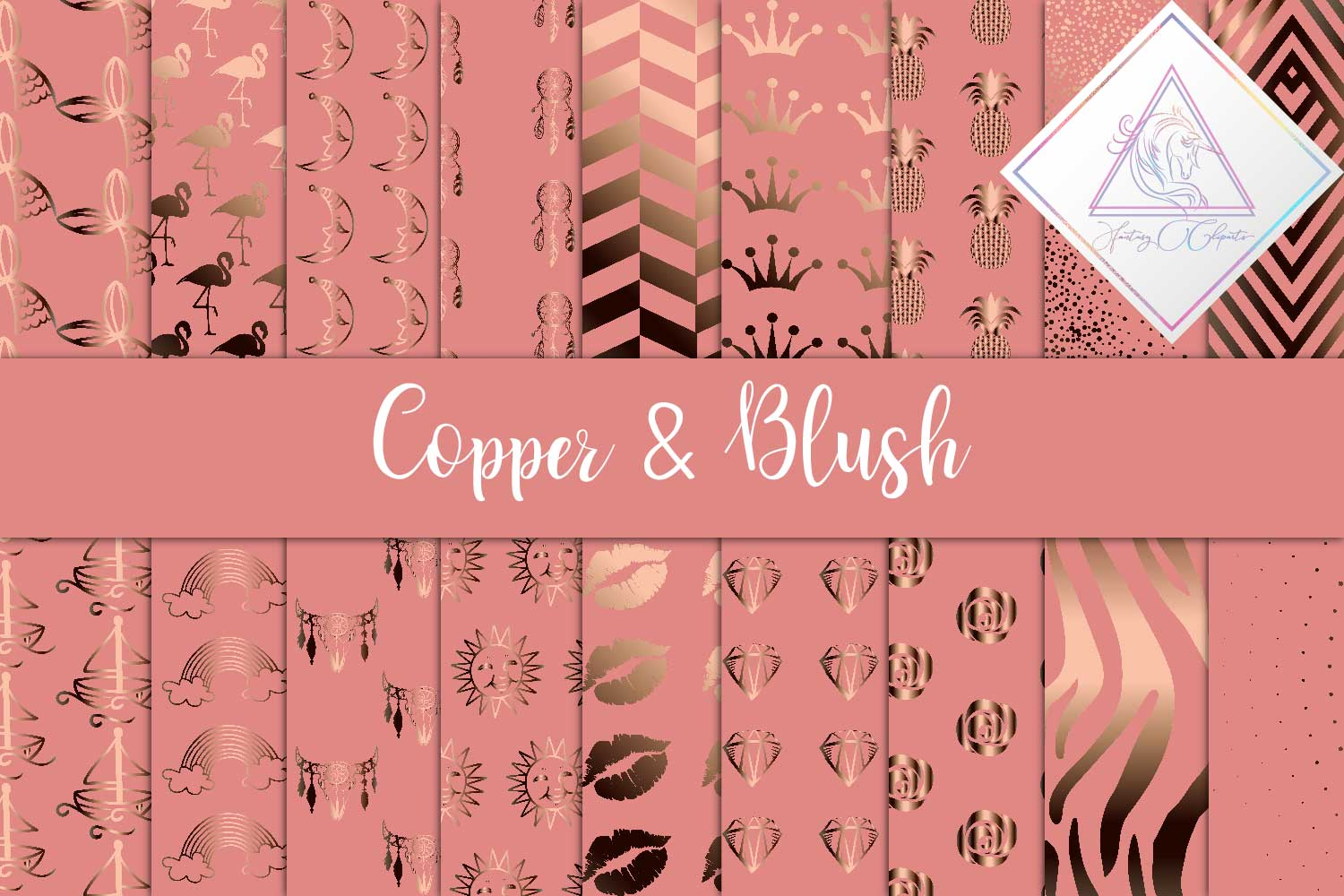 Copper & Blush Digital Paper example image 1