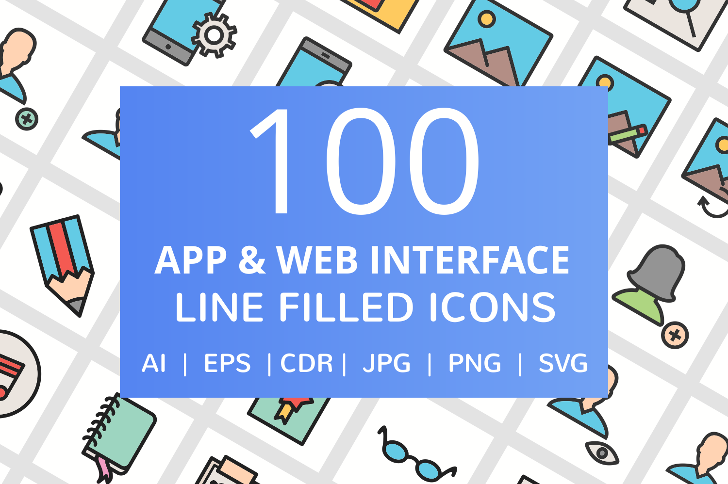 100 App & Web Interface Filled Line Icons example image 1