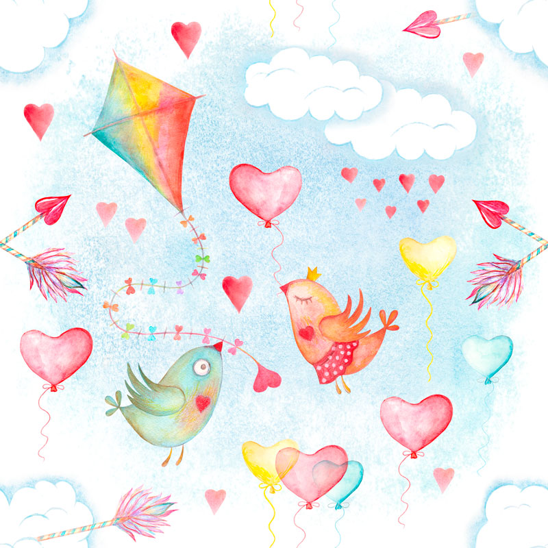 Watercolor sky cute seamless pattern example image 2