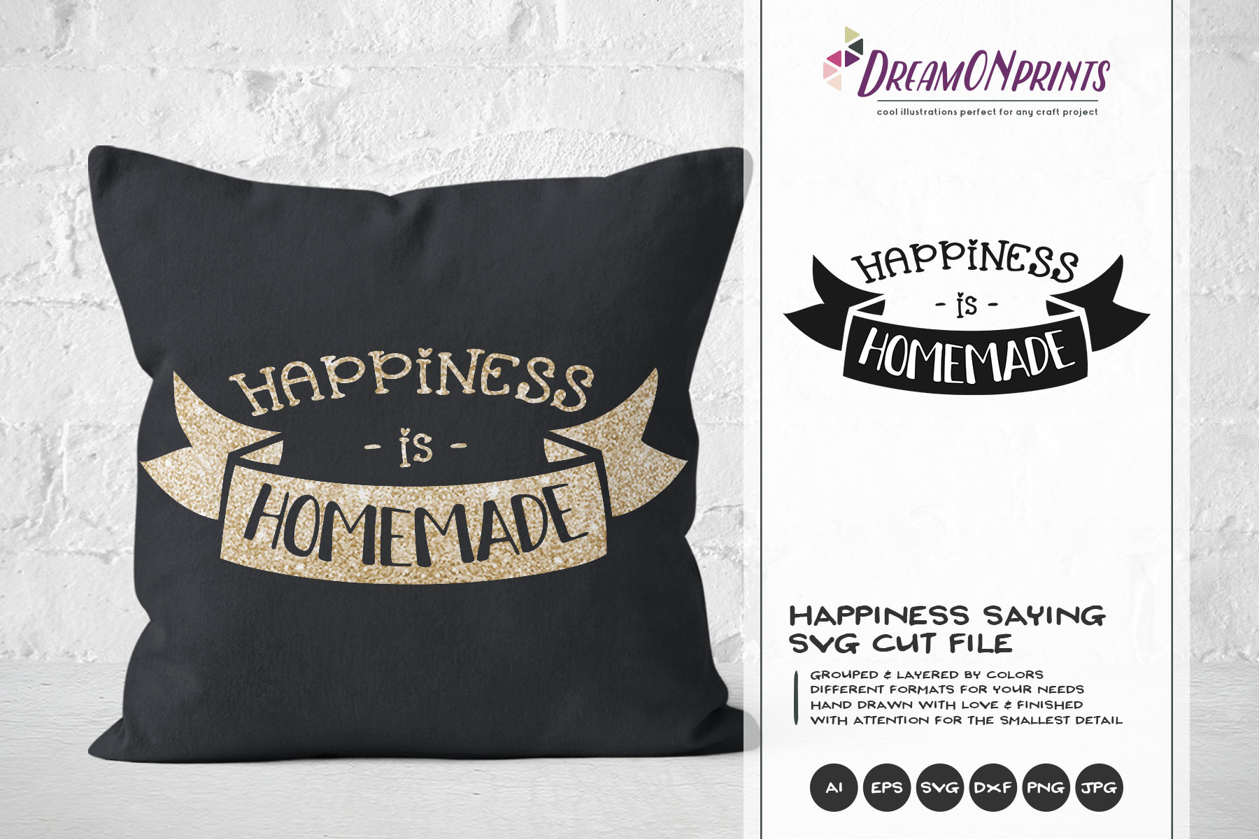 Happiness is Homemade SVG - Kitchen SVG Cut Files example image 1