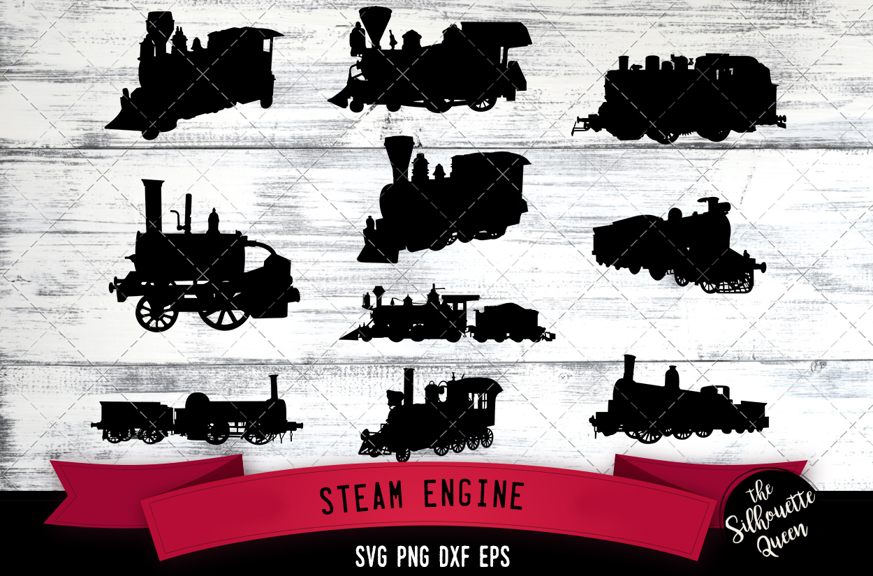 Steam Engine svg file, railroad svg cut file, example image 1