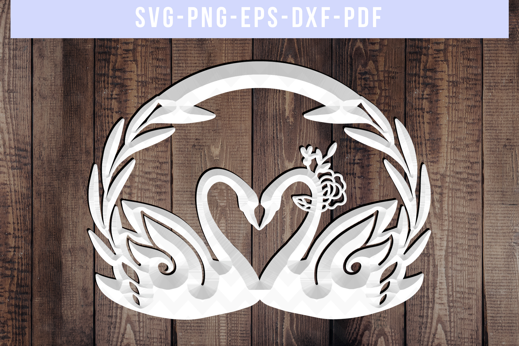 Customizable Wedding Swan Papercut Template, Lover SVG, DXF example image 3