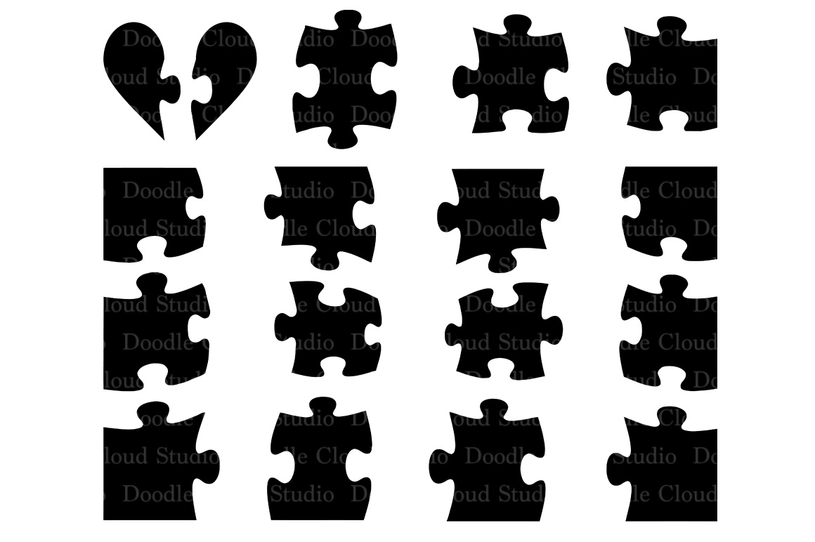 Jigsaw Puzzle svg, puzzle piece svg files for Silhouette Cameo and Cricut. Puzzle clipart PNG included, clipart PNG transparent example image 1