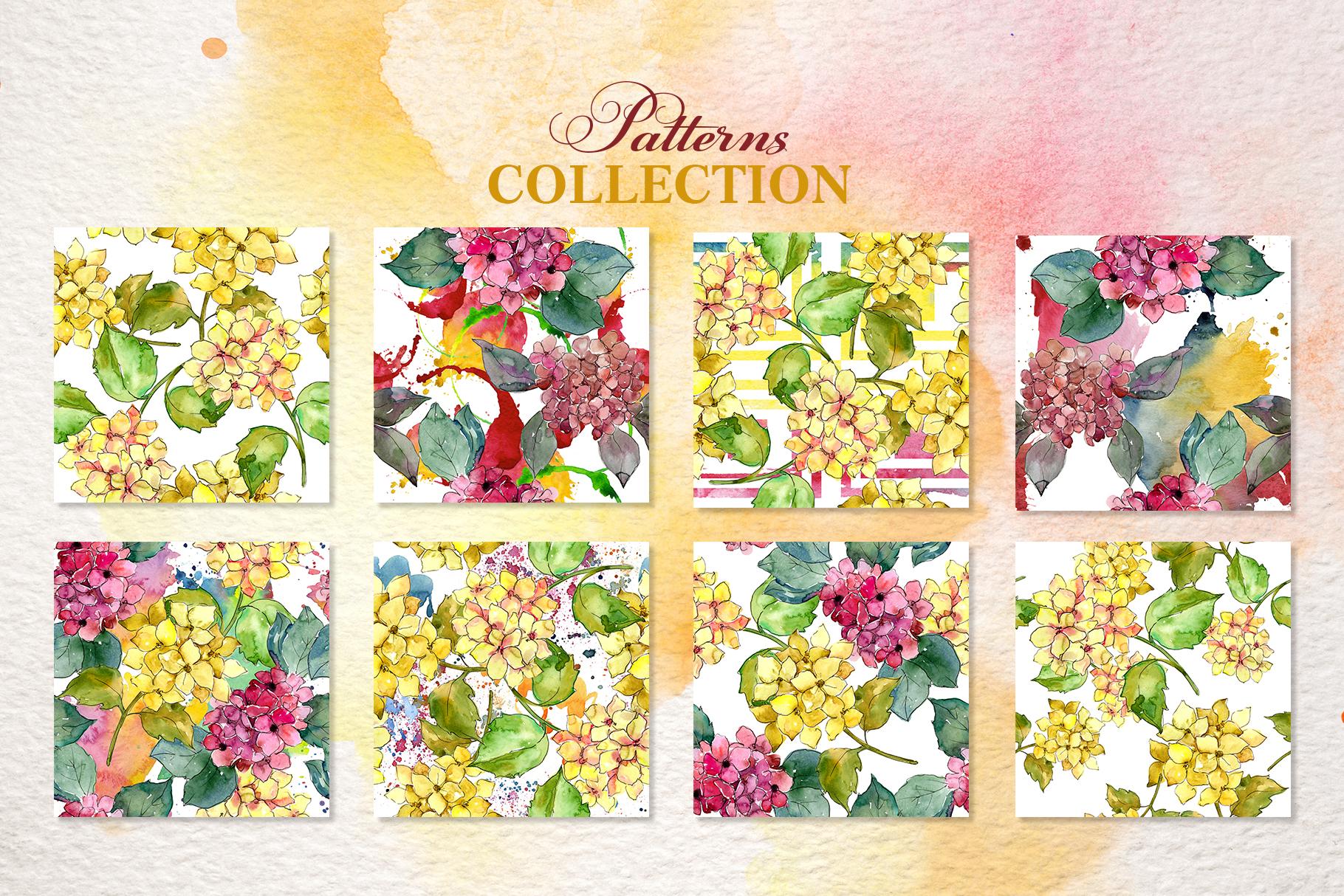 Hydrangeas Yellow-pink Watercolor png example image 4