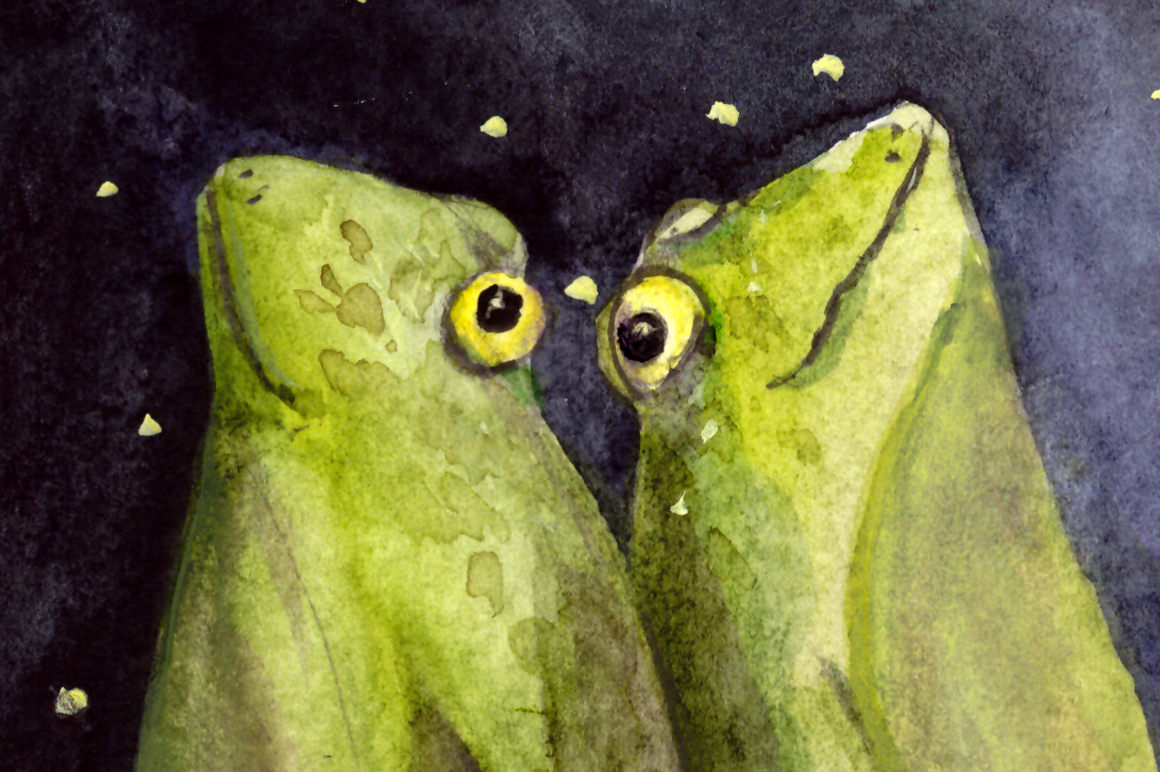 Dreaming Frogs - Watercolor Illustration/Print example image 1