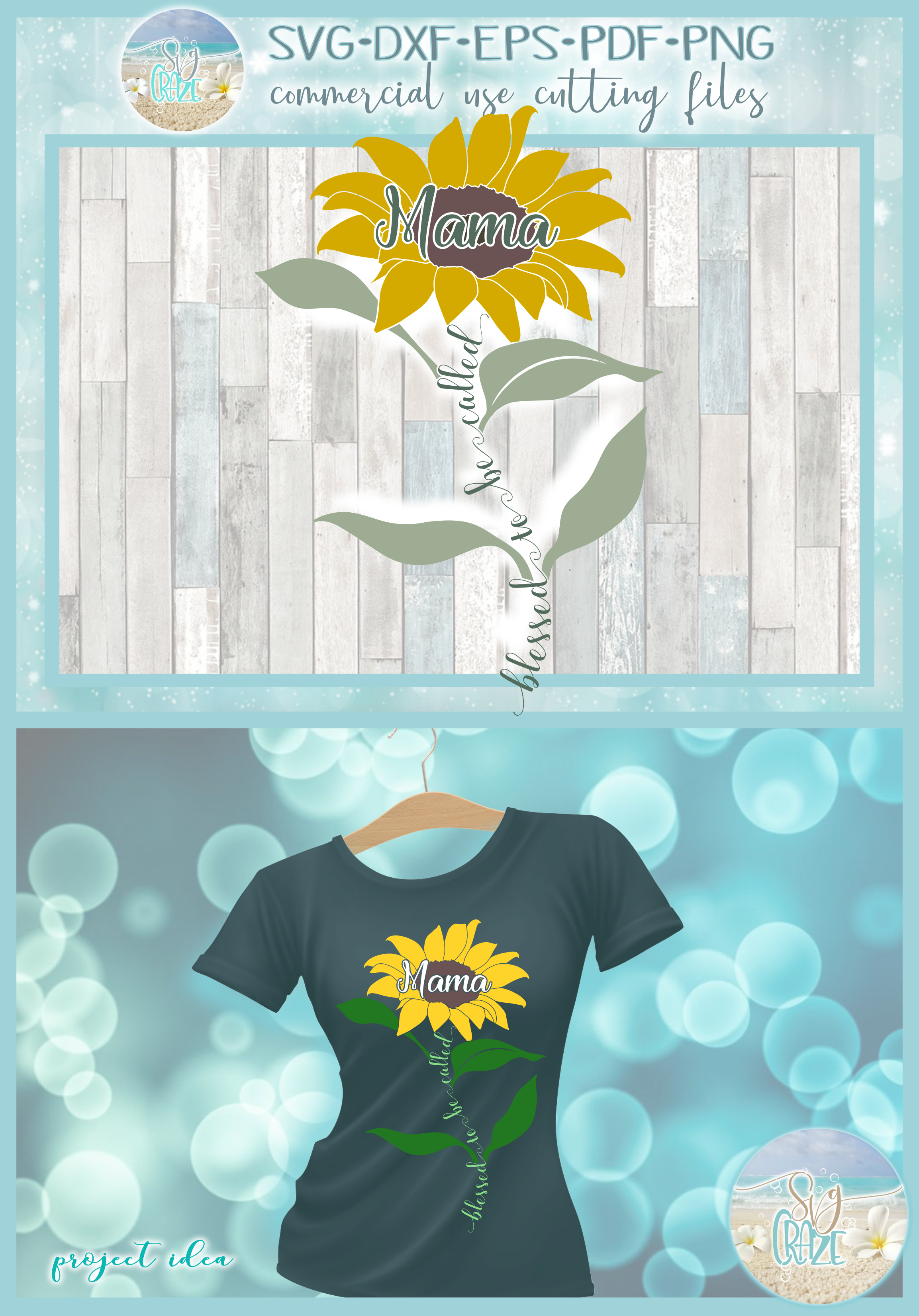 Blessed To Be Called Mama Quote with Sunflower SVG example image 4