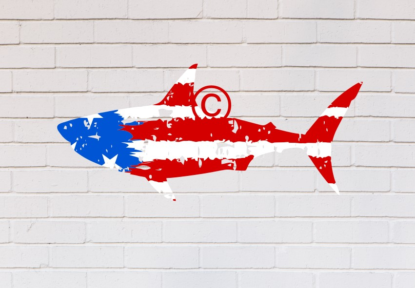 shark americna flag distressed ombre example image 2