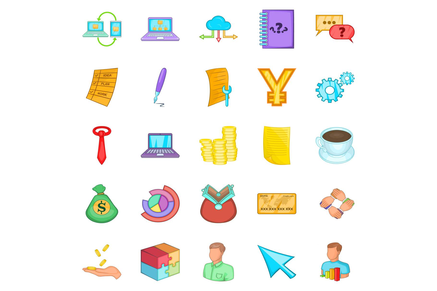 Investment of money icons set, cartoon style example image 1