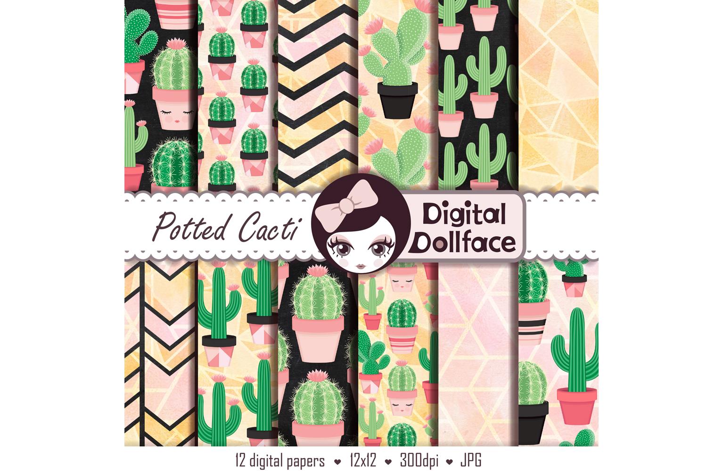 Cactus Patterns / Succulent Digital Paper example image 2