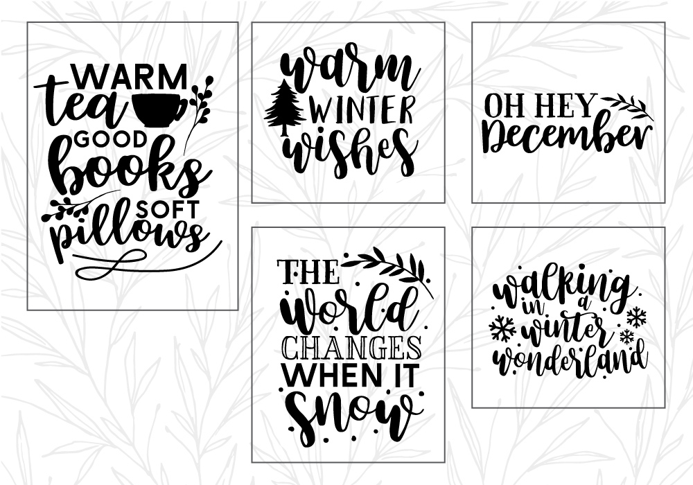 Winter Quote Cut File Bundle example image 4