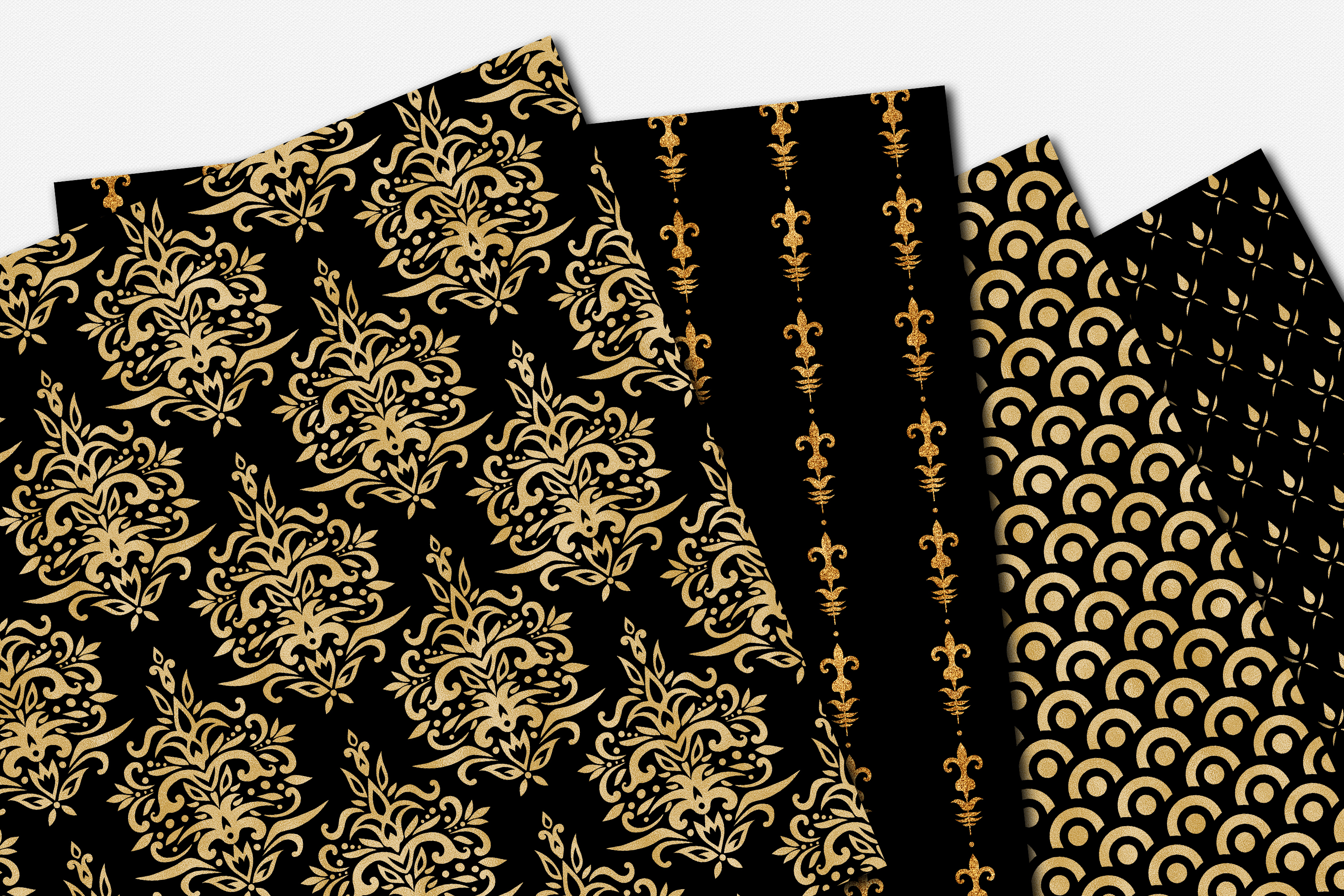 Black and Gold Seamless Papers - Damask & Geometric Patterns example image 5