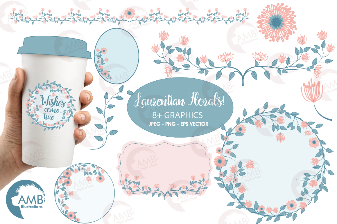 Floral graphics and illustrations, bridal Shower clipart example image 1