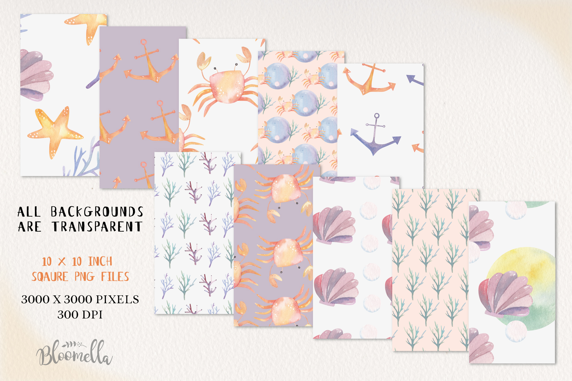 Sea Life Seamless Patterns Digital Papers Crabs Coral Fun example image 2