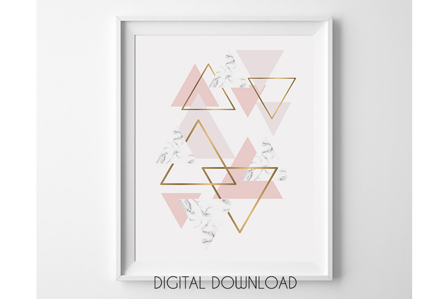 Pink and Gold Wall Print, Geometric Triangle Digital example image 1