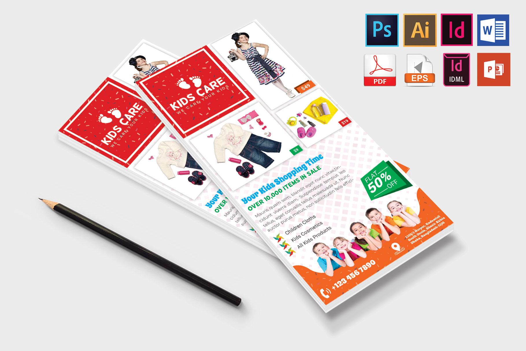 Rack Card | Kids Fashion DL Flyer Vol-03 example image 4