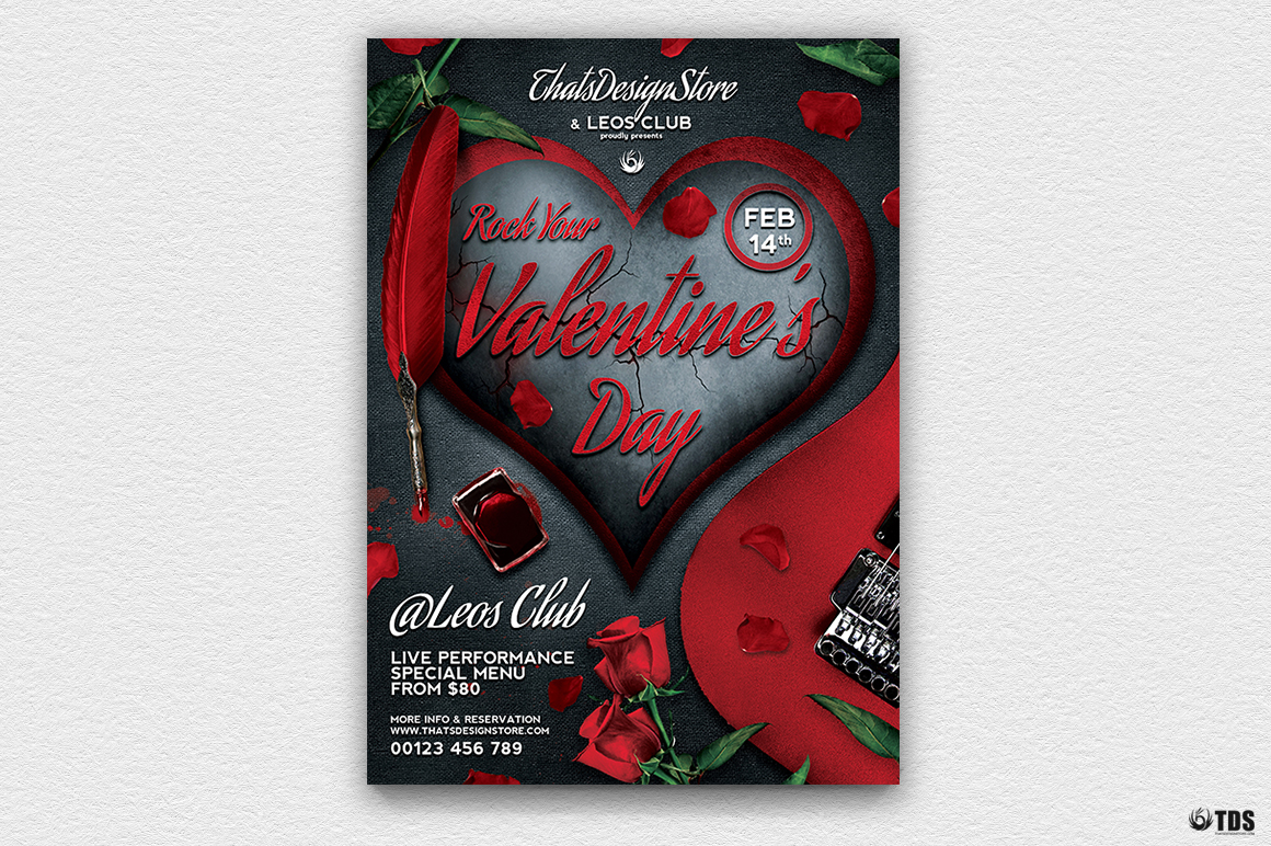 Rock Your Valentine Flyer Template example image 2