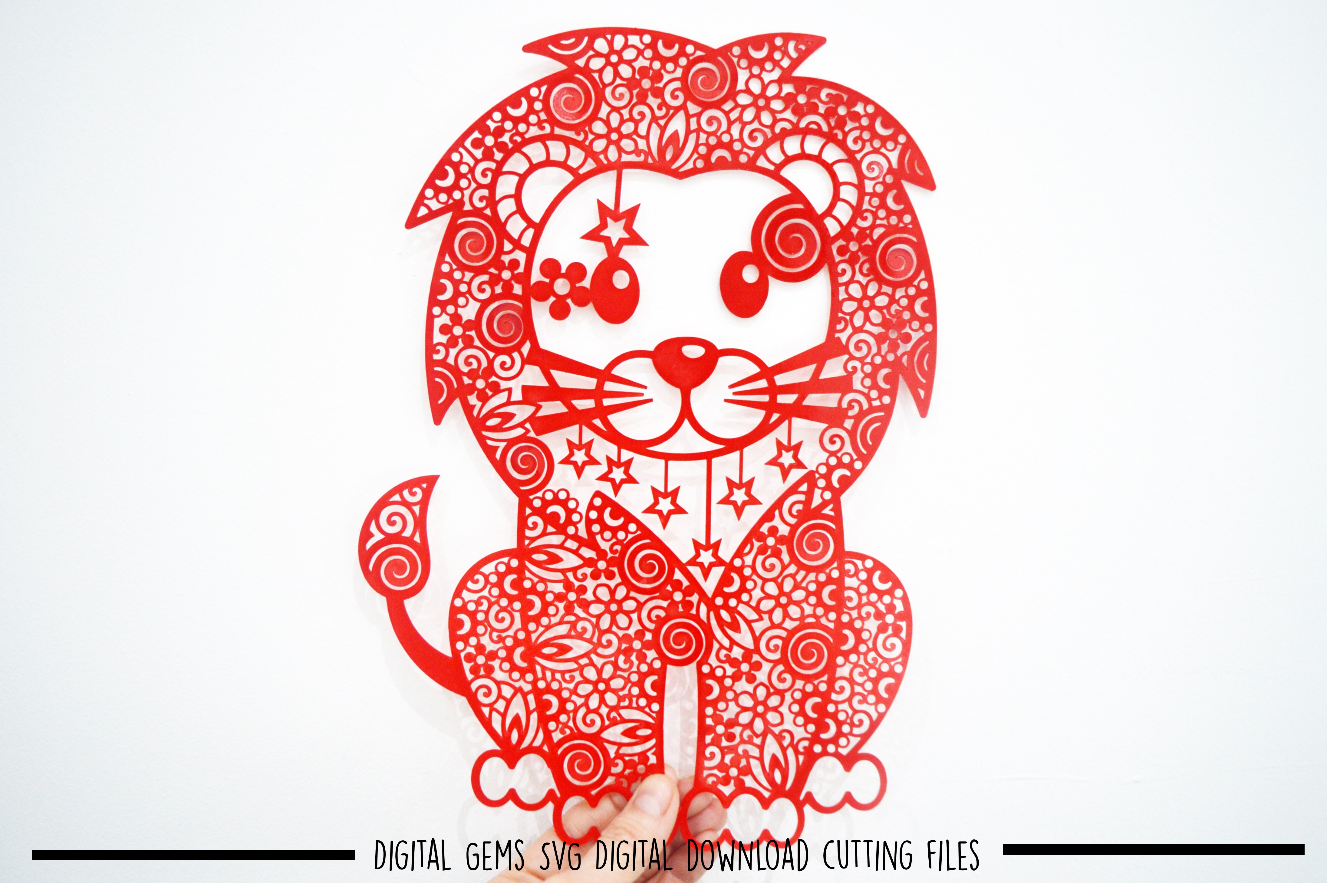 Lion paper cut SVG / DXF / EPS files example image 2