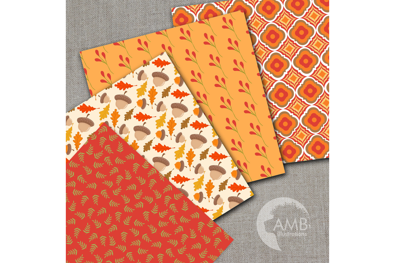 Autumn Digital Papers, Autumn Leaves Paper, Harvest Backgrounds, Pumpkin papers, Fall digital papers, Commercial Use, AMB-1403 example image 2