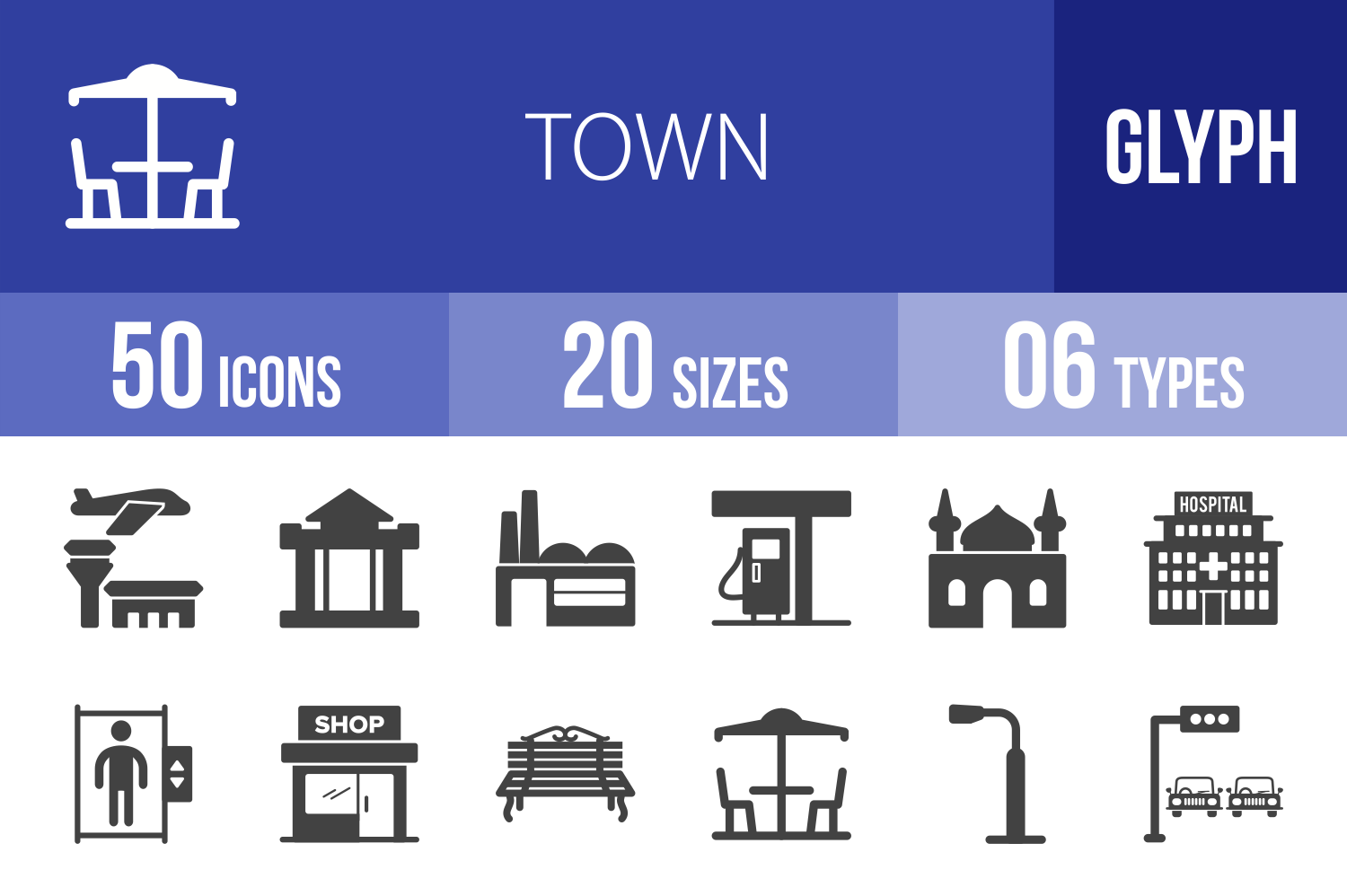 50 Town Glyph Icons example image 1